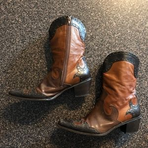 Shoes - Black, Brown Cowboy Boots